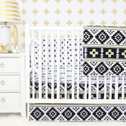 Caden Lane Black & Gold Aztec Bedding