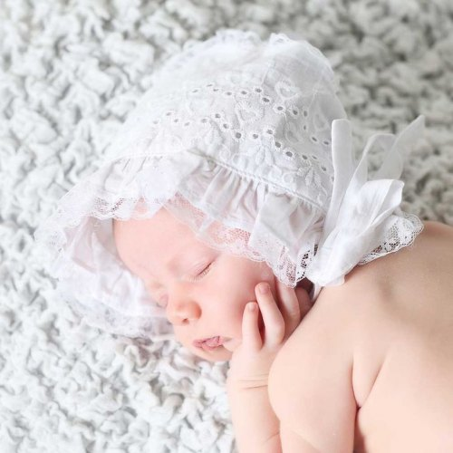 White Eyelet Heart Bonnet