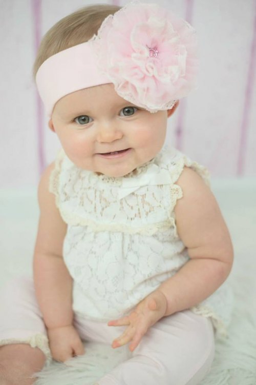 Pale Pink Soft Headband with Pale Pink Lace Rose