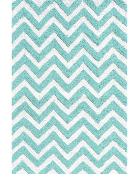 Chevron Rug in Teal