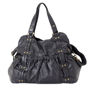 OiOi Black Faux Croc Leather Studded Tote