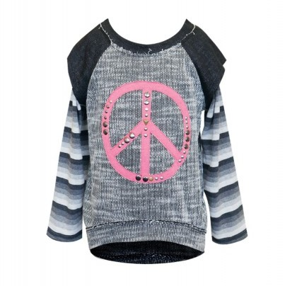 Hannah Banana Studded Peace Sign Sweater Tunic