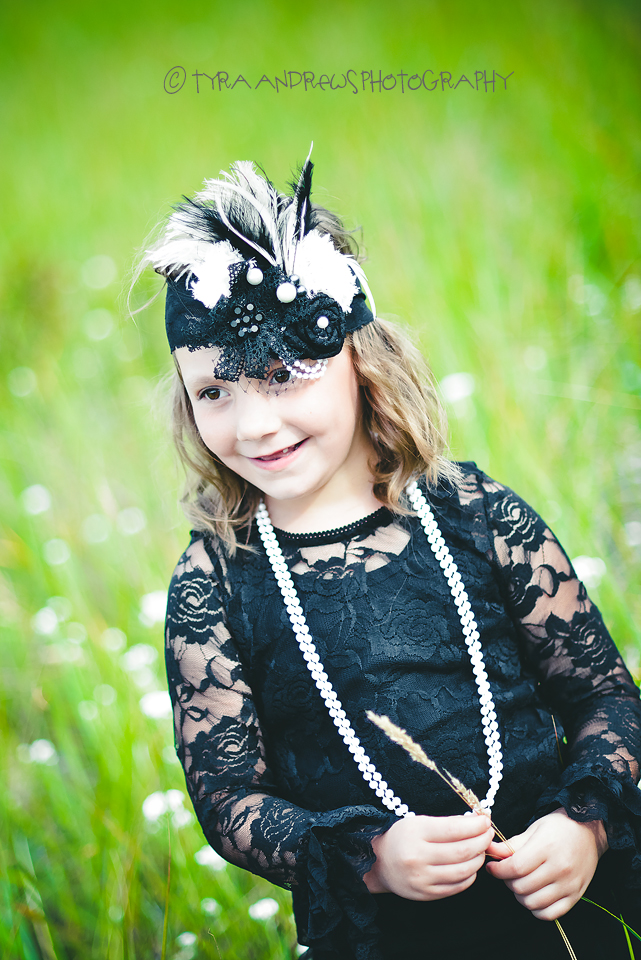Boutique Flower Party Headband - White & Black