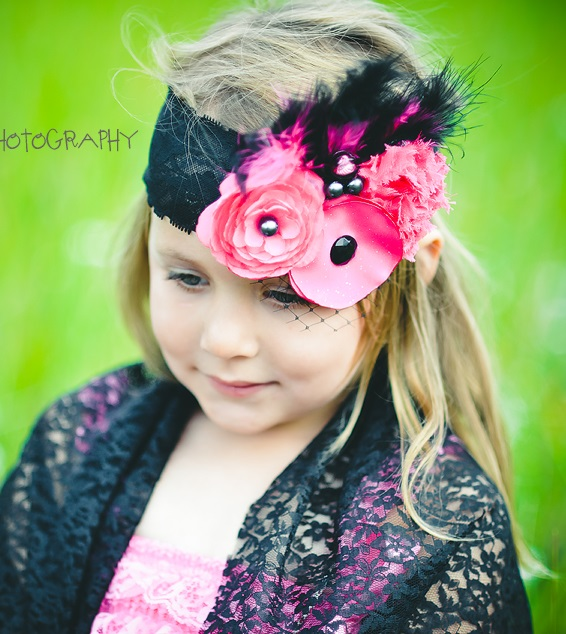 Boutique Flower Party Headband - Pink & Black