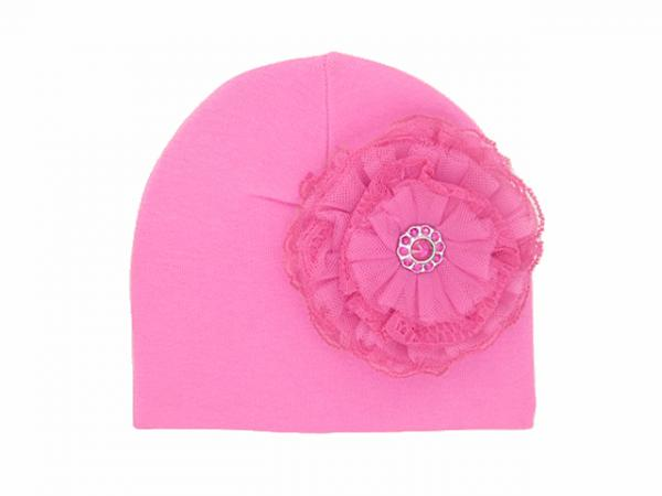 Candy Pink Hat with Raspberry Lace Rose