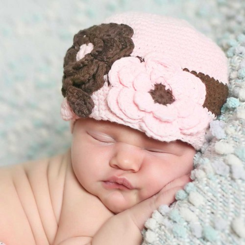Chocolate and Pink Crocheted Cloche