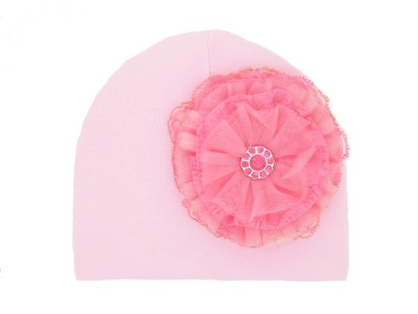 Pale Pink Hat with Candy Pink Lace Rose