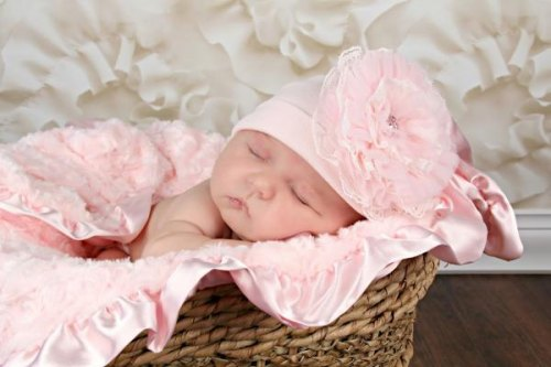 Pale Pink Hat with Pale Pink Lace Rose