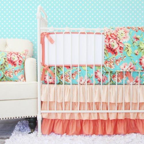 Caden Lane Coral Camilla Ruffle Baby Bedding