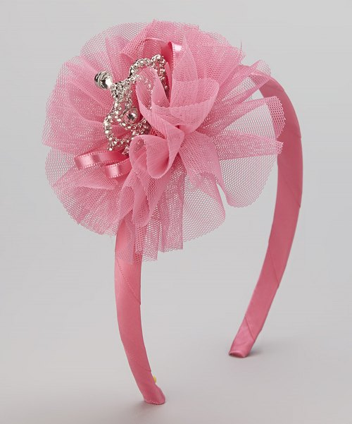 Maeli Rose Side Tiara Headband - Hot Pink