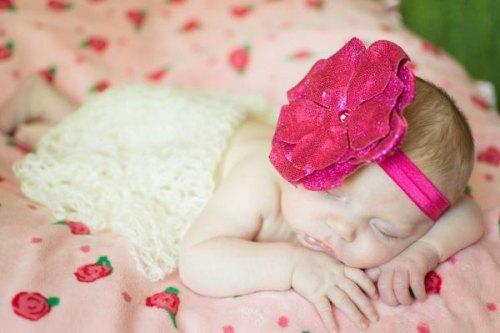 Raspberry Flowerette Burst with Raspberry Sequins Rose