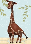 Gillespie Giraffe Canvas Reproduction- Blue