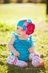 Prissy Piggies Romper- Teal Blue