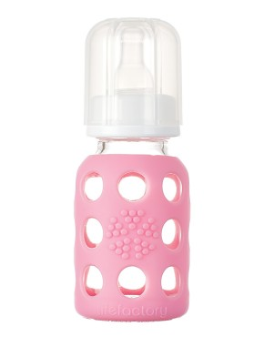 4oz Glass Baby Bottle with Silicone Sleeve - Pink