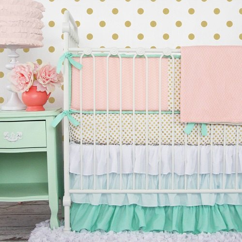 Caden Lane Mint & Coral Chevron Baby Bedding