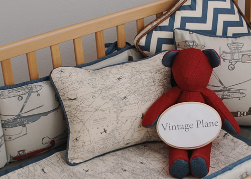 Vintage Plane Crib Bedding 2pc Set
