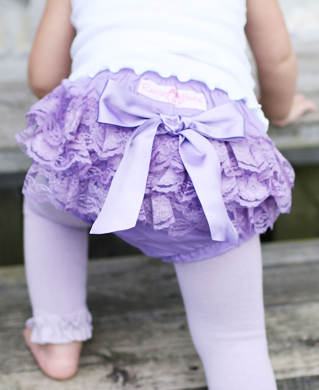 RuffleButts Lavender Lace Woven Bloomers