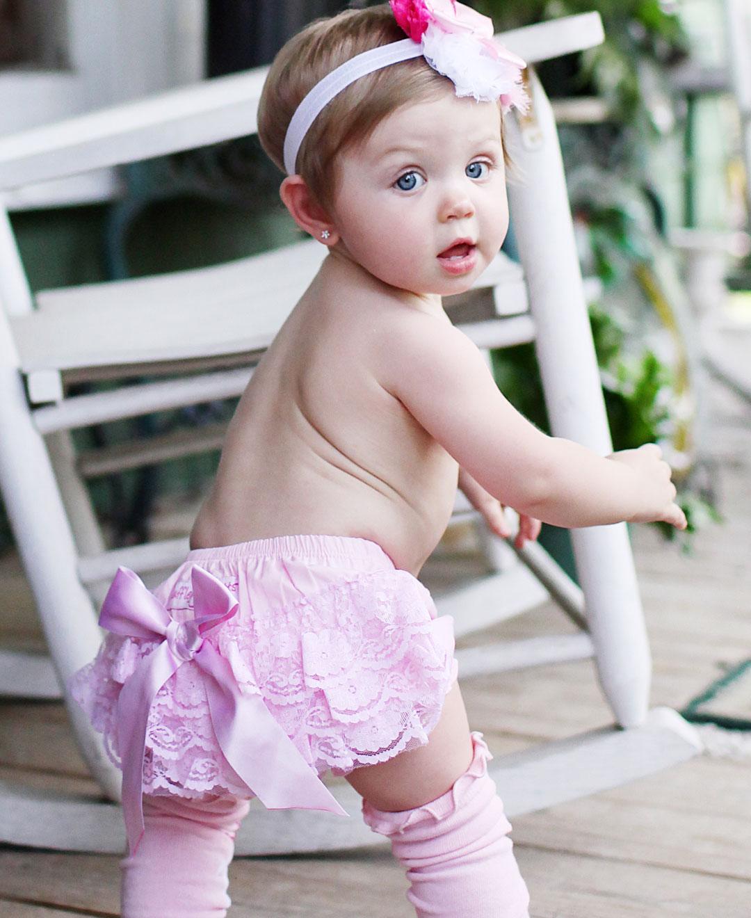 RuffleButts Pink Lace Woven Bloomers