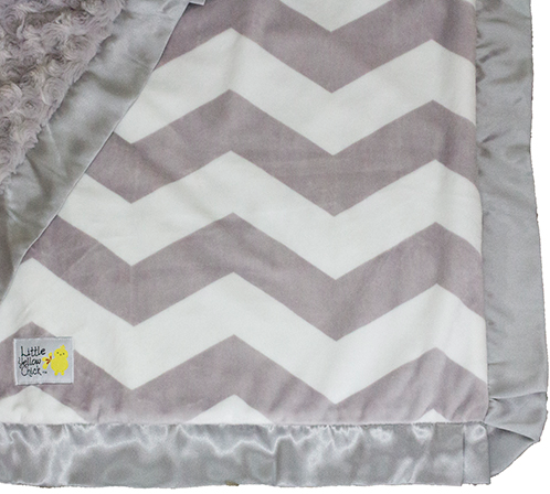 Little Yellow Chick - Grey Chevron Blanket