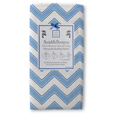 Swaddle Designs Marquisette Swaddle Blanket Chevron - Light Blue