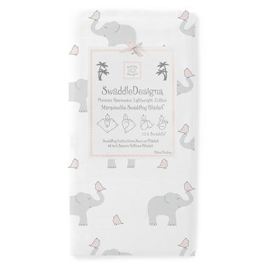 Swaddle Designs Marquisette Swaddle Blanket Elephant and Chickies - Pink