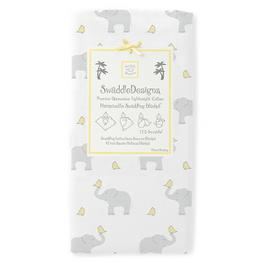 Swaddle Designs Marquisette Swaddle Blanket Elephant and Chickies - Yellow