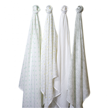 Swaddle Designs 4pk Muslin Swaddle Blankets - Sterling