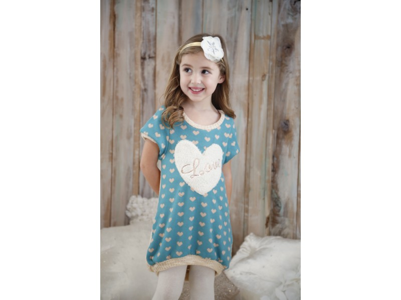 Hannah Banana Faux Sheepskin Heart Sweater Dress