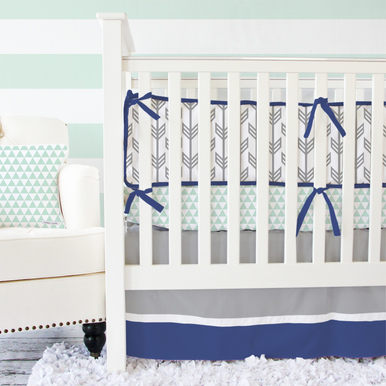 Caden Lane Navy & Mint Arrow Baby Bedding