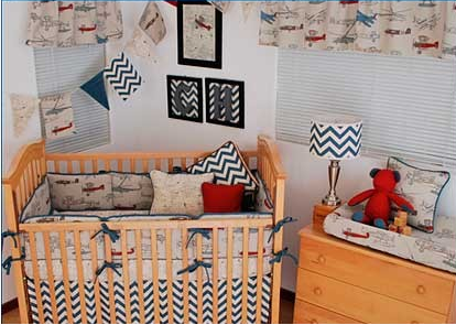 Vintage Plane Crib Bedding - 2pc Set