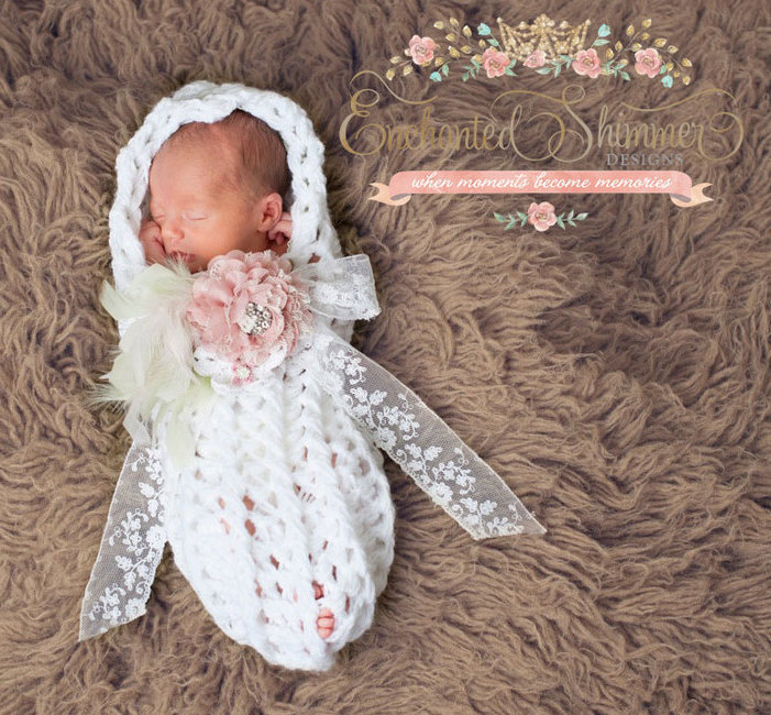 Enchanted Shimmer White Baby Girl Cocoon