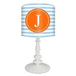 Striped Monogram Lamp- Blue/Orange