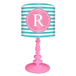 Striped Monogram Lamp- Turquoise/Pink