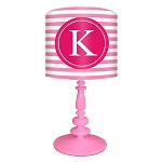 Striped Monogram Lamp- Pink/Raspberry