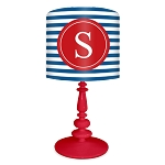 Striped Monogram Lamp- Red/Blue