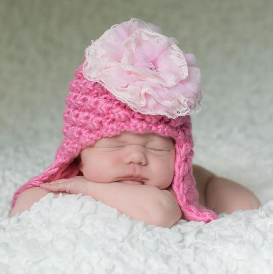 Candy Pink Pretty Pixie Hat with Pale Pink Lace Rose