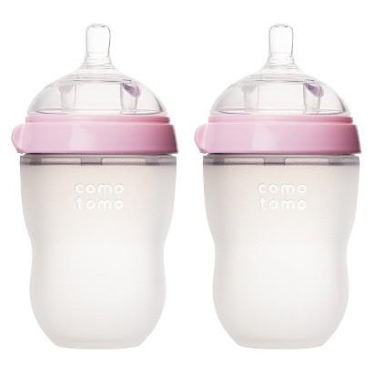 Comotomo 8oz Baby Bottle Double Pack - Pink