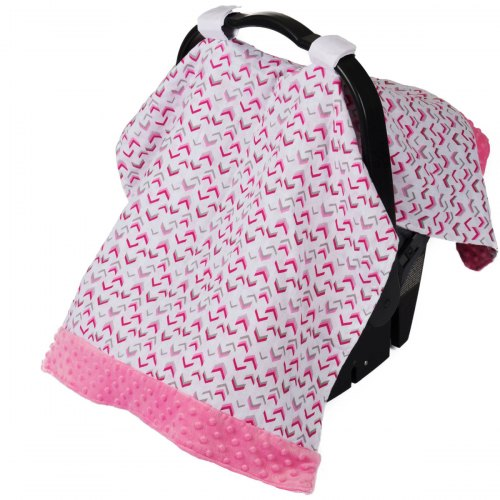 Muslin Car Seat Canopy - Chev Rock Pink