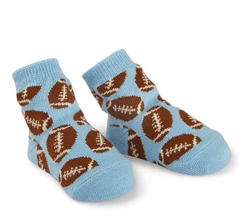 Mud Pie Blue Football Socks