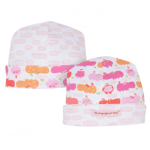 Magnificent Baby Hippo Friends Reversible Hat - Girl