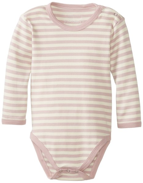 Organic Gloved Sleeve Bodysuit - Mauve Stripe