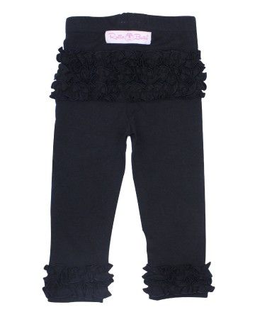 RuffleButts Ruffle Leggings - Black