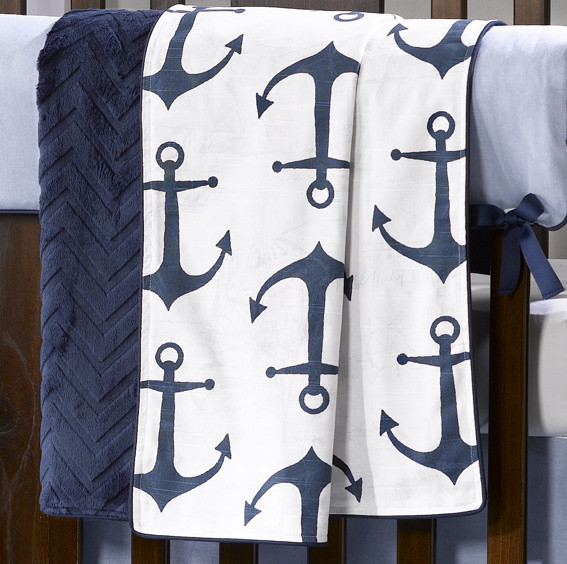 Liz and Roo Minky Receiving Blanket - Anchors