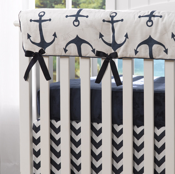 Liz and Roo Crib Rail Cover - Anchors