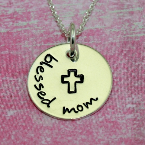 Sterling Silver Blessed Mom Necklace