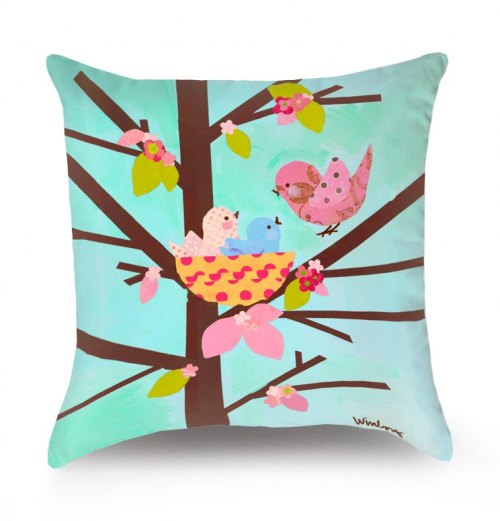 Reversible Throw Pillow - Blossom Birdies