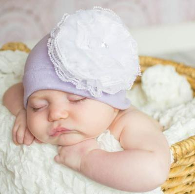 Lavender Hat with White Lace Rose