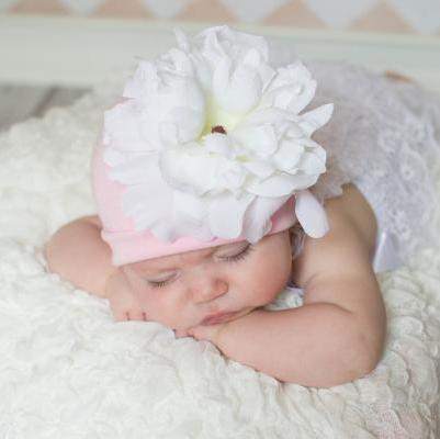 Pale Pink Hat with White Peony