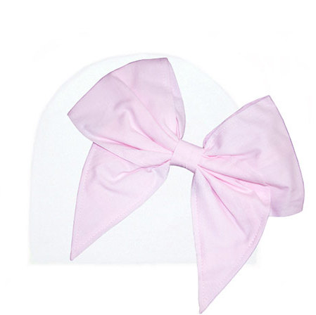 White Hat with Pale Pink Bow