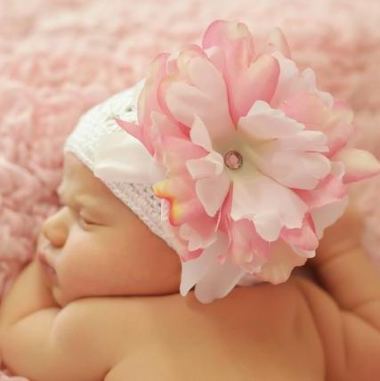 White Crochet Hat with Pink & White Peony